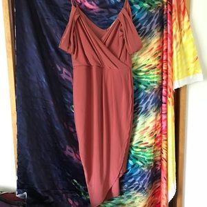Off the shoulder dress with asymmetrical hemline